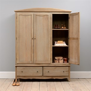 Camille Limewash Oak Triple Wardrobe