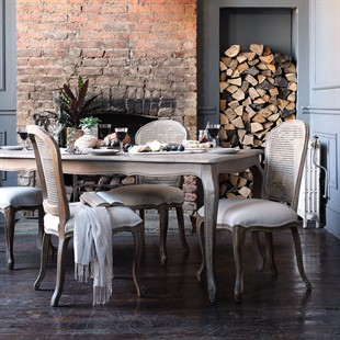 Camille Limewash Oak Table with 6 Chairs