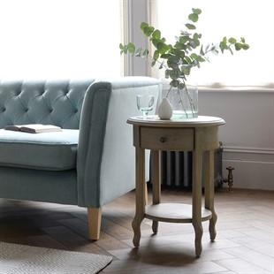 Camille Limewash Oak Set of 2 Round Side Tables
