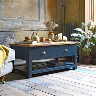 Westcote Inky Blue Coffee Table with Drawers