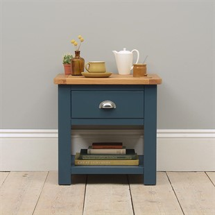 Westcote Inky Blue 1 Drawer Lamp Table