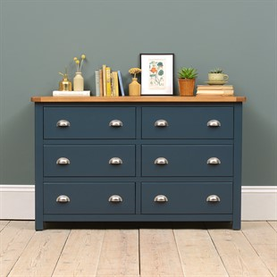 Westcote Inky Blue 6 Drawer Wide Chest