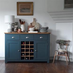 Westcote Inky Blue Sideboard with Oak Wine Rack