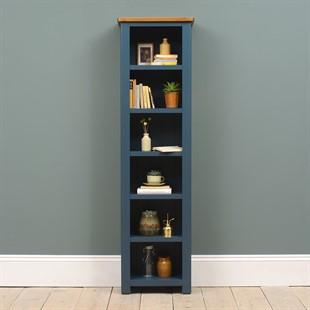 Westcote Inky Blue Tall Slim Bookcase