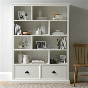 Stow Warm White Large Bookcase with Drawers