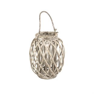 Small Willow Candle Lantern - Grey Wash