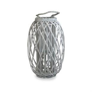 Large Willow Candle Lantern - Grey Wash