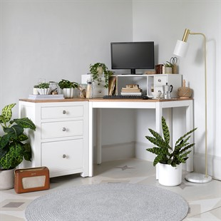 Chalford Warm White Corner Desk with Topper and Filing Cabinet