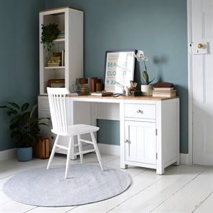 Chalford Warm White Desk with Bookcase and Filing Cabinet