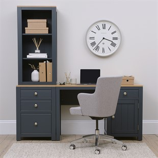Chalford Inky Blue Desk with Bookcase and Filing Cabinet