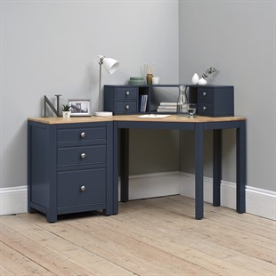 Chalford Inky Blue Corner Desk with Topper and Filing Cabinet