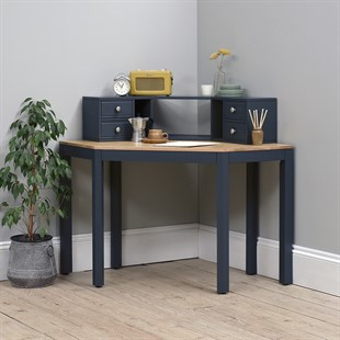 Chalford Inky Blue Corner Desk with Topper