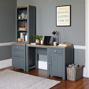 Chalford Dark Grey Desk with Bookcase and Filing Cabinet