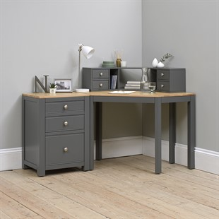 Chalford Dark Grey Corner Desk with Topper and Filing Cabinet
