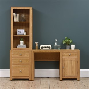 Chalford Oak Desk with Bookcase and Filing Cabinet