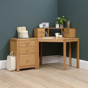 Chalford Oak Corner Desk with Topper and Filing Cabinet