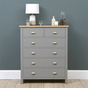 Simply Cotswold Storm Grey 2+4 Chest of Drawers