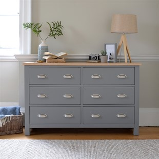 Simply Cotswold Storm Grey 6 Drawer Low and Wide Chest