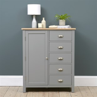 Simply Cotswold Storm Grey Painted Combi Wardrobe