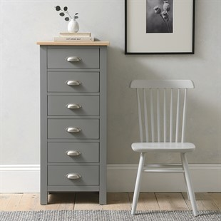 Simply Cotswold Storm Grey 6 Drawer Tall Chest