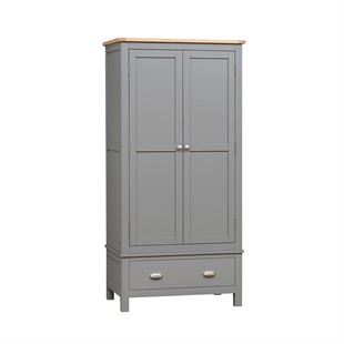 Simply Cotswold Storm Grey Double Wardrobe