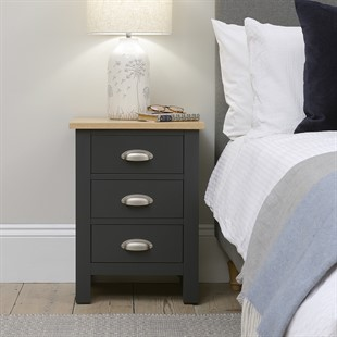 Simply Cotswold Charcoal 3 Drawer Bedside