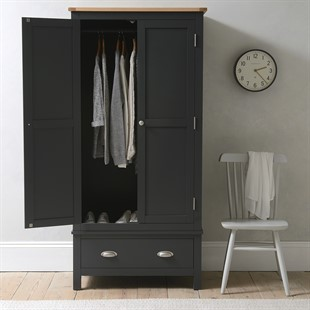 Simply Cotswold Charcoal Double Wardrobe with Drawer
