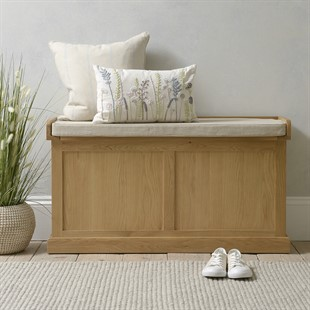 Appleby Oak Large Shoe Storage Trunk and Bench