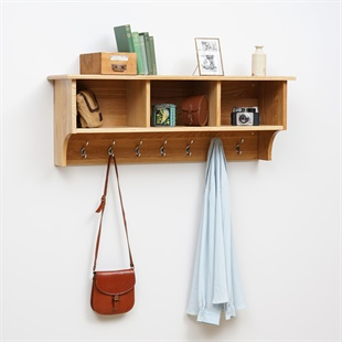 Appleby Oak Cubby Shelf and Hooks
