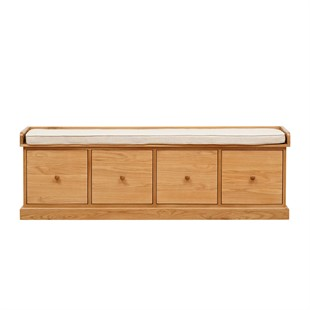 Appleby Oak Four Drawer Shoe Bench with Cushion