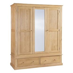 Appleby Oak Triple Wardrobe with Mirror