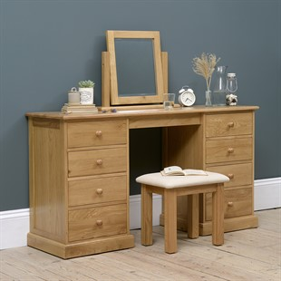Appleby Oak Double Pedestal Dressing Table