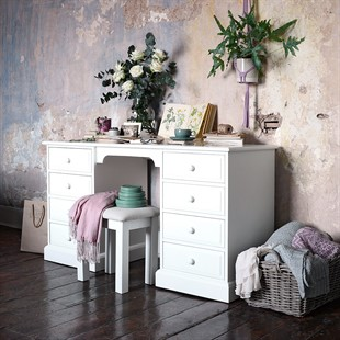 Burford Warm White Double Pedestal Dressing Table / Desk