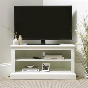 "Burford Soft White Corner TV Unit - Up to 40"""