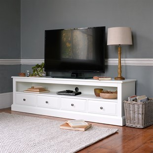 """Burford Soft White Extra Large TV Stand - Up to 80"""""""