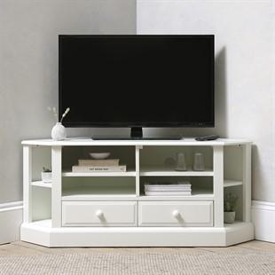 """Burford Soft White Large Corner TV Unit - Up to 57"""""""