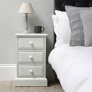Burford Soft White 3 Drawer Bedside Cabinet