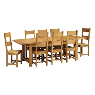 Oakland 220-265-310 Ext. Table and 8 Wooden Seat Chairs