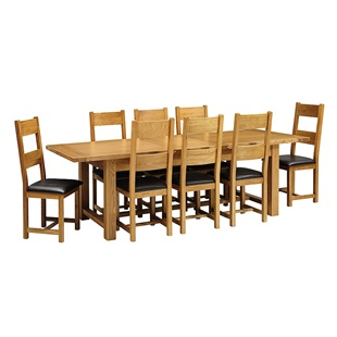 Oakland 220-265-310 Ext. Table and 8 Leather Seat Chairs