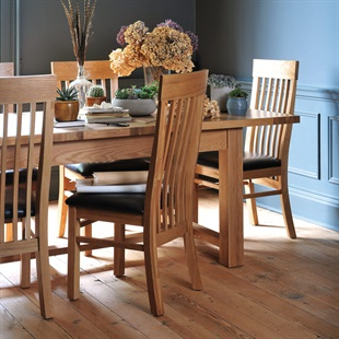 Light Oak 180-220-260cm Table and 6 Shaker Chairs