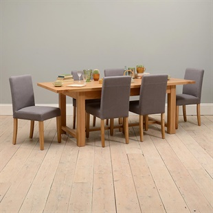 Light Oak 180-220-260cm Ext. Table and 6 Grey Chairs