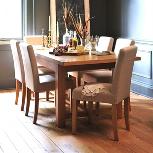 Light Oak 180-220-260cm Ext. Table and 6 Linen Chairs
