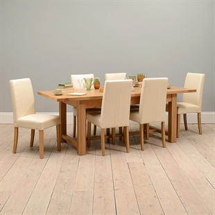 Light Oak 180-220-260cm Ext. Table and 6 Cream Straightback Chairs