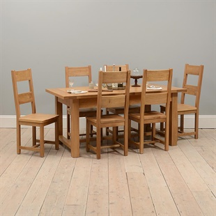 Oakland 180-220-260 Ext. Table and 6 Wooden Seat Chairs