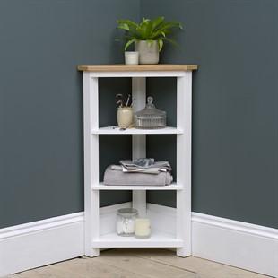 Chatsworth Pure White Corner 4 Tier Shelf Unit
