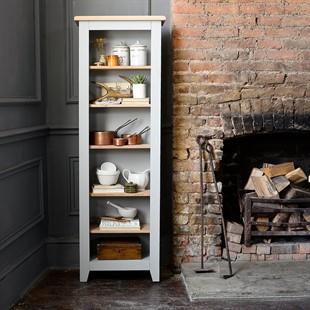 Chester Dove Grey Tall Slim Bookcase