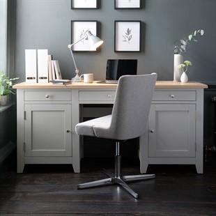 Chester Dove Grey Double Pedestal Desk