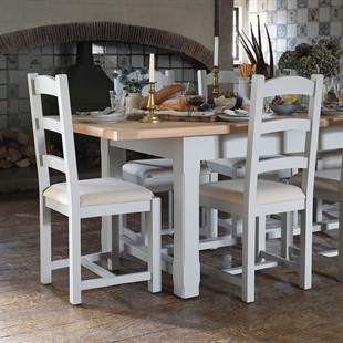 Chester Dove Grey 180-220-260cm Ext. Table and 6 Chairs