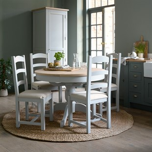 Chester Dove Grey 110-145cm Ext. Round Table and 4 Chairs