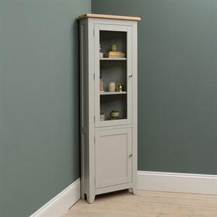Chester Dove Grey Corner Display Cabinet